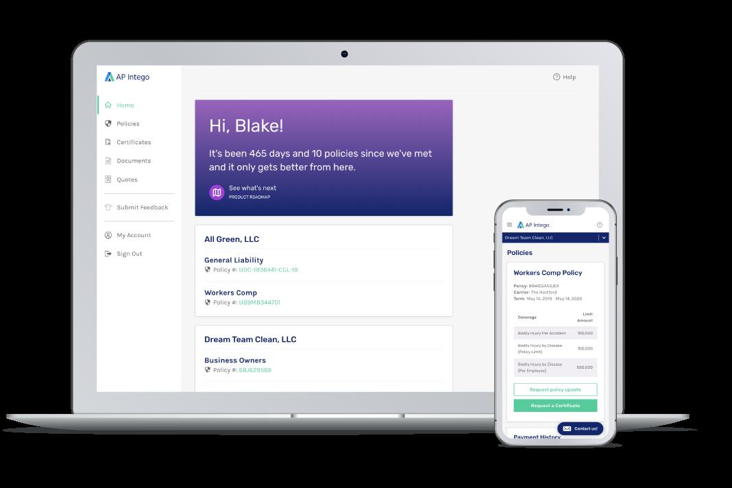 AP Intego's customer dashboard —convenience, coverage, confidence